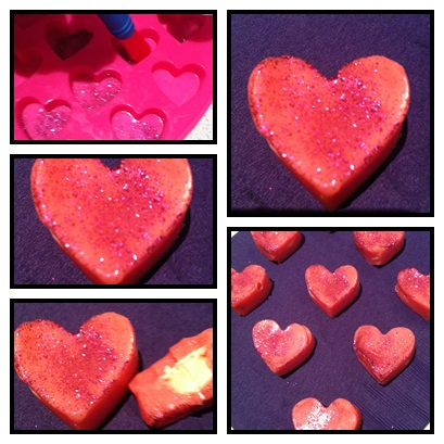 Pink fudge hearts - great Valentines Day crafts for kids