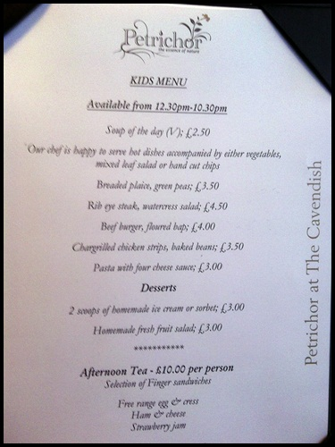 """children's menu at the Cavendish hotel in London"""
