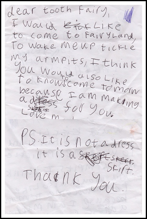 """""""tooth fairy letter"""""""