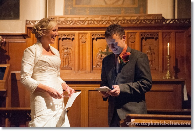 The groom read his wedding vows from his tablet
