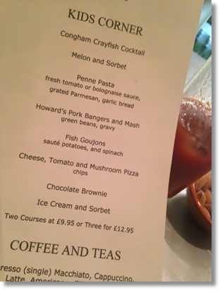 Children's menu at Congham Hall Hotel