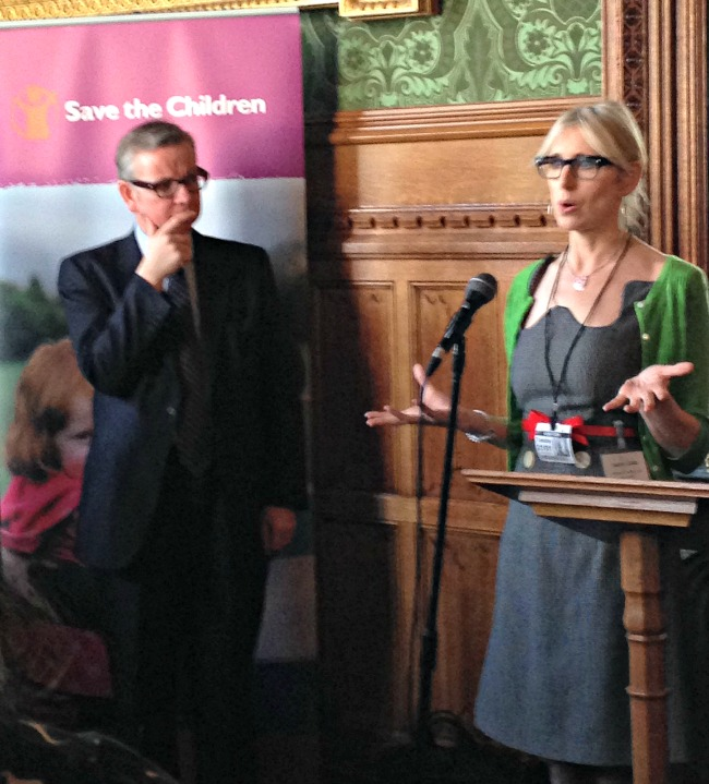 Lauren Child, Author of Charlie and Lola, and Michael Gove spoke compellingly about the need to Change the Story for the UK's poorest children