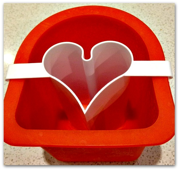 Heart-shaped bread mould for making Valentine's fudge