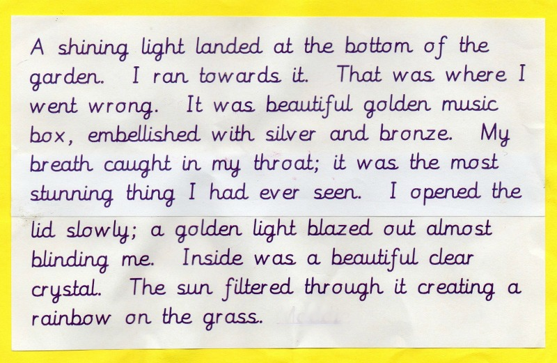 Child's writing at KS2 Year 4
