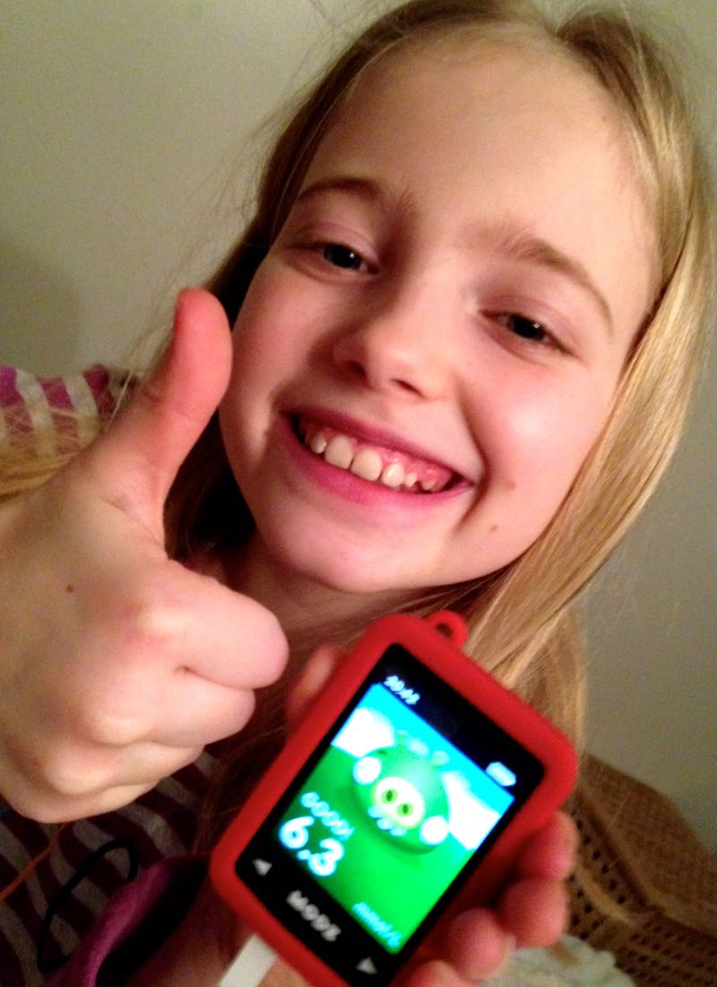 Two happy faces for this result on the Modz Angry Birds blood glucose meter