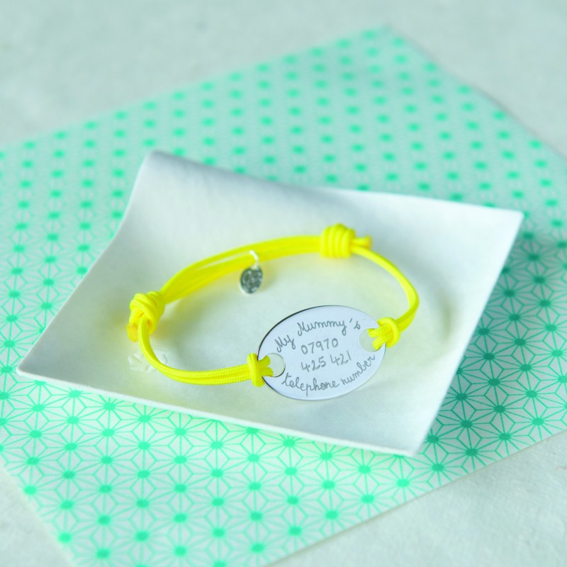 Pretty id bracelet that's simple enough for a child, or change the colours and inscription for an adult.