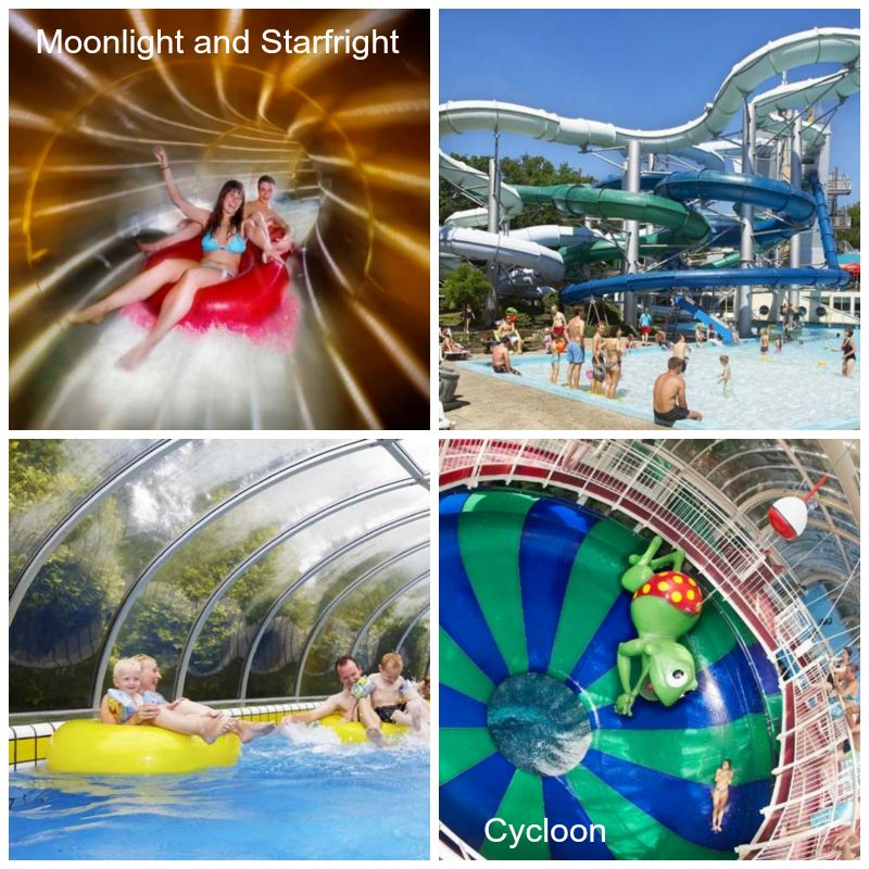 The Tikibad pool and water slide complex at Duinrell holiday park