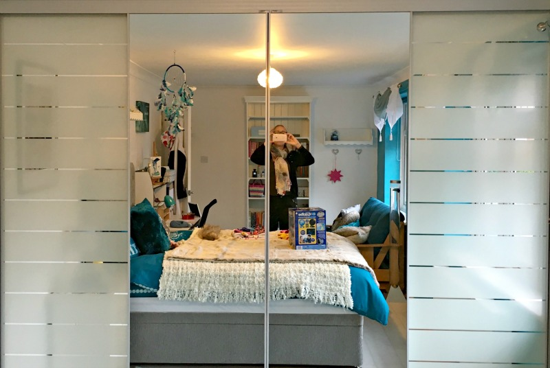 This sliding door unit is great for hiding teen clutter behind!