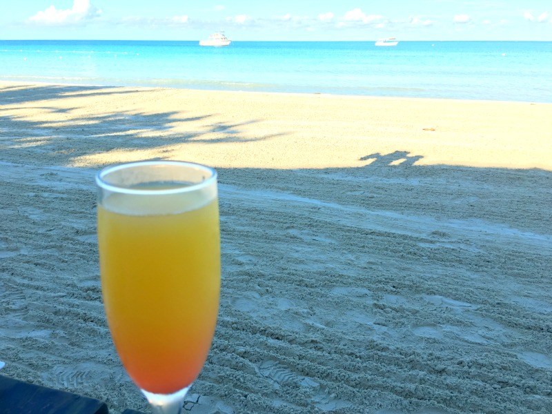 A Mimosa on the beach with the perfect breakfast at Beaches Resorts Negril