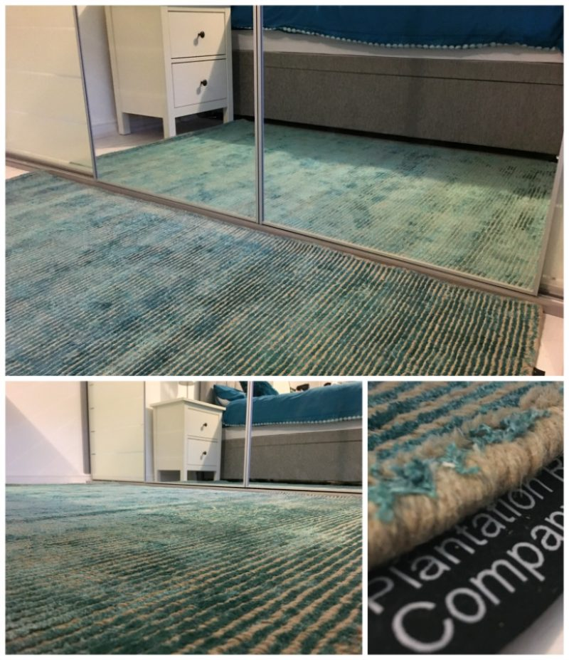 Tween teal bedroom makeover: This Plantation Rug Company rug from Houseology makes the perfect compromise between hard flooring and carpet
