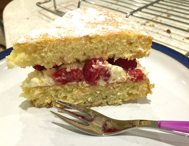 Lemon and Raspberry Victoria Sponge recipe. (Sage Appliances Scraper Mixer Pro Review)