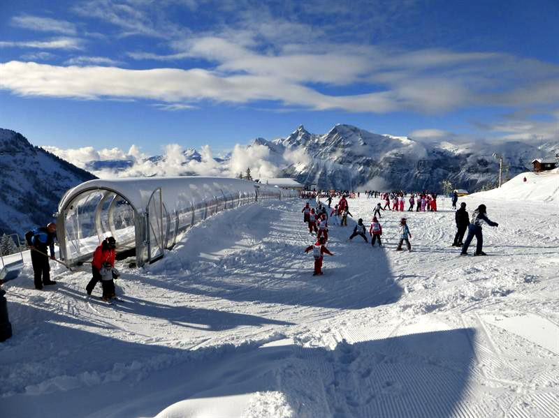 Family ski resort in the French Alps - the beginner slopes are perfect, with an easy conveyor lift