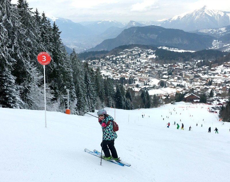 Family ski resort in the French Alps - pistes into town vary in difficulty