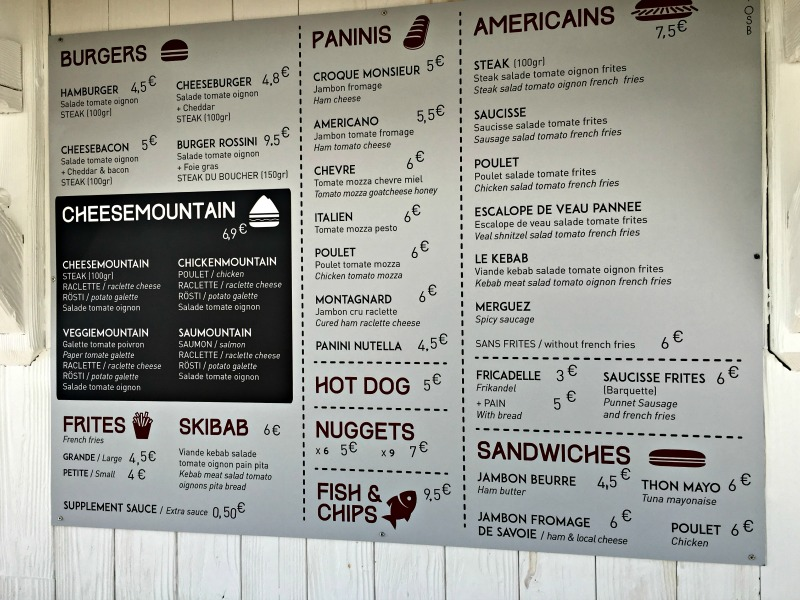 Menu at Ski Food
