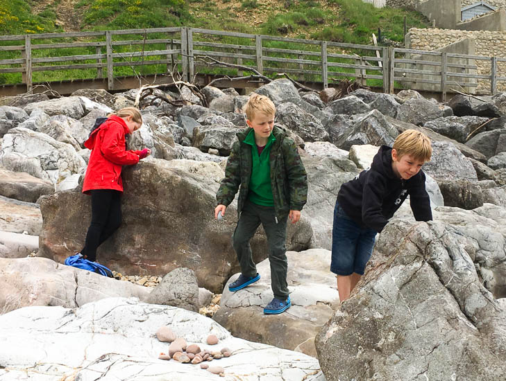 Charmouth Beach is a short drive from Old Bidlake Farm camping, and is perfect for fossil hunting