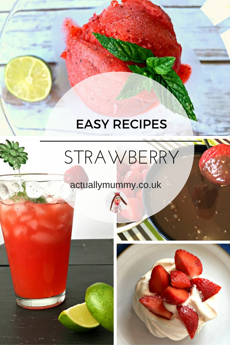 Some super easy strawberry recipes perfect for families. Try mocktails, sortbet, cake, or chocolate fondue!