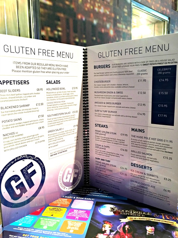 There's a great range of gluten-free dishes at Planet Hollywood London