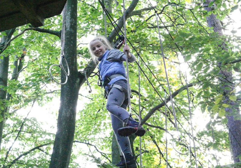 Go Ape challenges! This one is really difficult! But the safety ropes mean that any courses you can't do can just be 'zip wired' across.