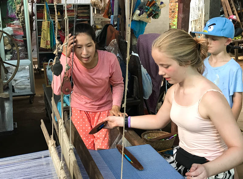 Cambodia family holiday highlights - weaving silk at the silk farm