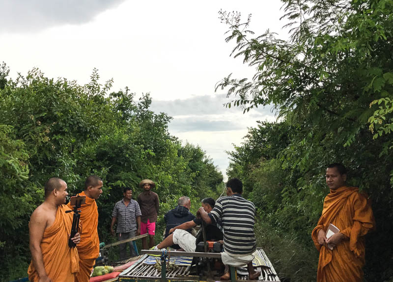 Even monks like selfies! These buddhist monks are videoing their trip on the Bamboo Train, in Battambang, Cambodia