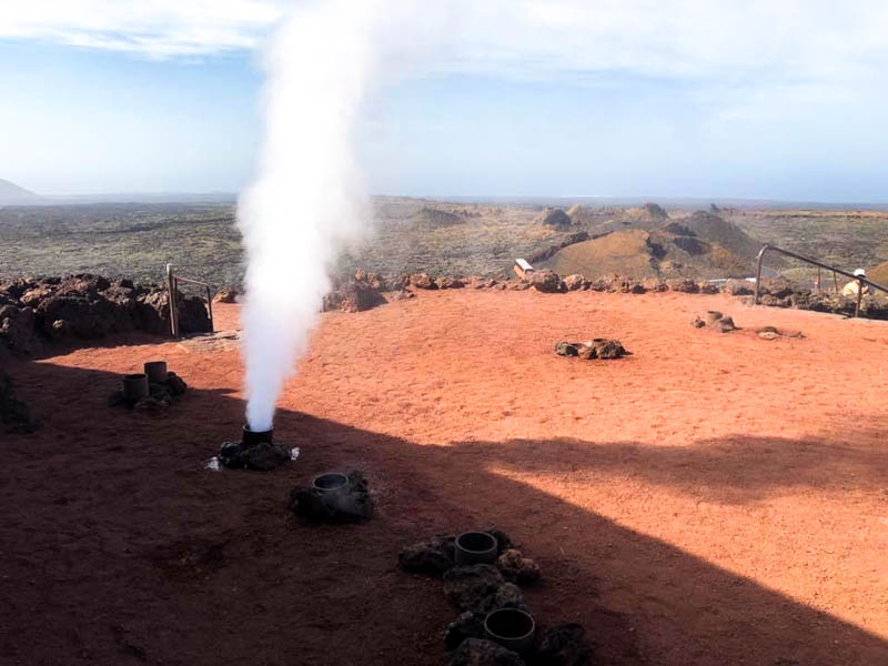 The steam coming out of the boreholes at Montañas del Fuego is a spectacular thing to see - volcanoes of Lanzarote