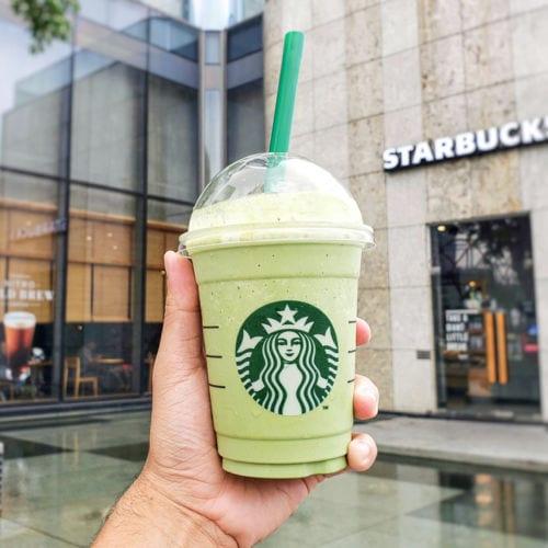 Green starbucks frappuccino in USA