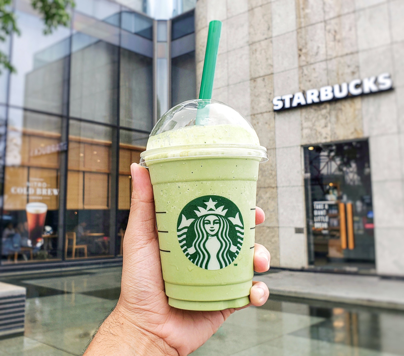 Green starbucks frappuccino in USA