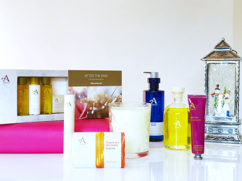 Arran Aromatics gift box containing soaps, scented candles and reed diffusers
