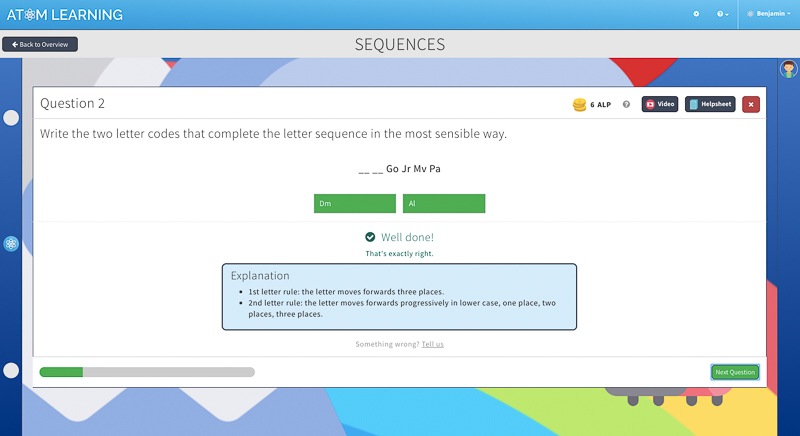 verbal reasoning question in Atom's KS2online learning plaform