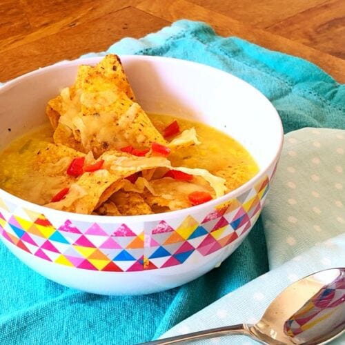 teenage family meal plan ideas - corn chowder with nachos