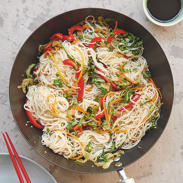 Meal plan for hungry teens Stir fried veg and rice noodles
