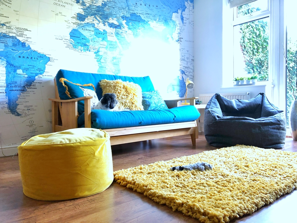 Hangout room inspiration - teal and mustard furnishings