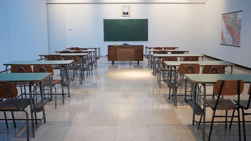 Empty exam hall for GCSES 2021