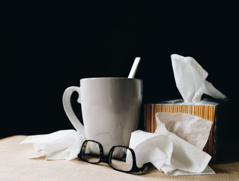 Tissues, hot tea and glasses
